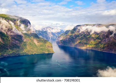 Aurlandfjord and Sognefjord from Stegastein viewpoint, Norway