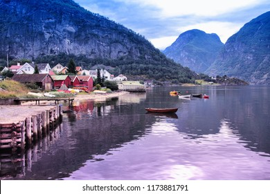 Aurlandsfjord - beautiful fiord landscape in Sogn og Fjordane region of Norway. Filtered color style.