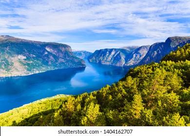 Aurlandsfjord fjord landscape, Norway Scandinavia. National tourist route Aurlandsfjellet.