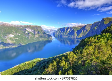 Aurlandsfjord seen from Stegastein Overlook, The West Norwegian Fjords, Norway