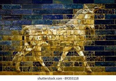An aurochs of the Ishtar Gate in the Pergamon Museum in Berlin