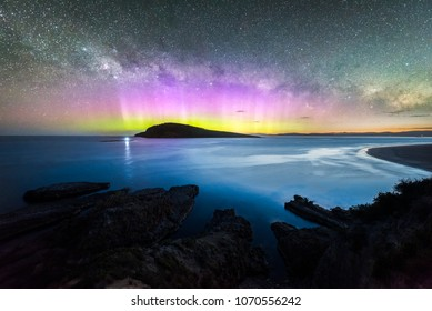Aurora Australis over Betsey Island at Blue Hour