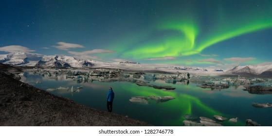 Aurora Borealis above Jokulsarlon Glacier, Iceland