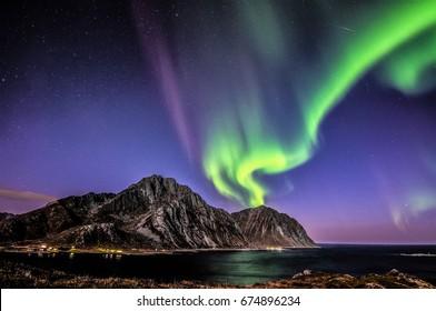 "aurora borealis above "",Nappstinden"""