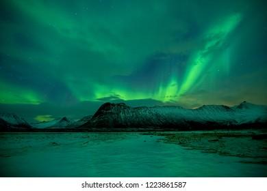 Aurora Borealis aka Northern Lights, Vesterålen Islands in Norway