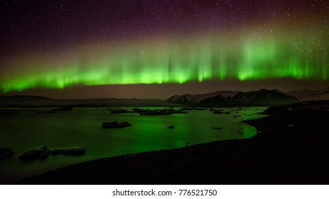 Aurora borealis, islandia , iceland at night Jökulsárlón