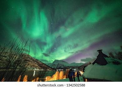 Aurora Borealis Lyngenalps Lakselvbukt amazing green dancing lady