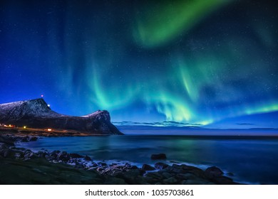 Aurora Borealis at Myrland in Lofoten