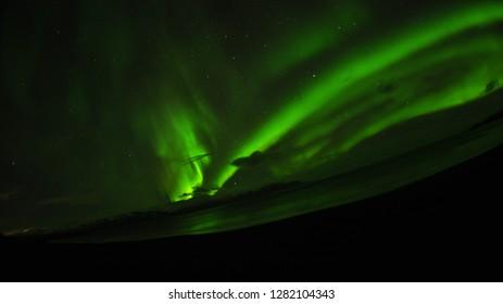 Aurora borealis near the sea