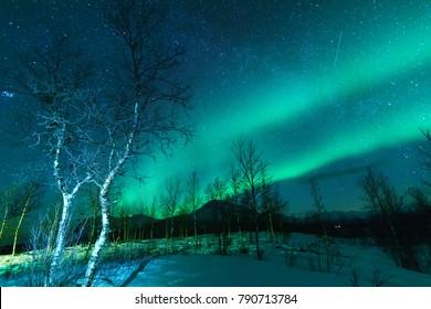 Aurora Borealis Northen lights phenomenon in Sweden Lapland.
