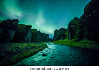 Aurora Borealis (Northern Lights) above Fjadrargljufur canyon