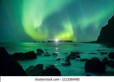 Aurora Borealis (Northern Lights) above Reynisfjara Beach