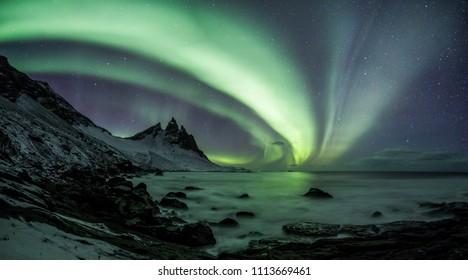 Aurora Borealis (Northern Lights) above Stokksnes Beach and Vestrahorn Mountains, Iceland