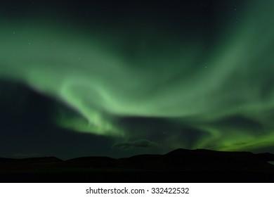 Aurora borealis. Northern lights in Iceland Myvatn