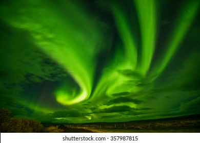 Aurora borealis, northern lights in Iceland with KP8