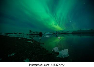 Aurora Borealis (northern lights) at Jokulsarlon lagoon in south Iceland