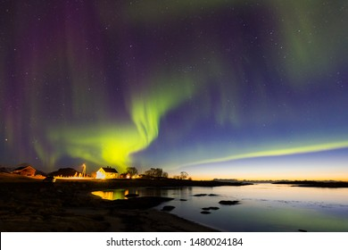 Aurora borealis, northern lights in Lofoten, Norway. Once in a lifetime experience.