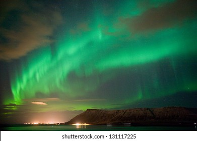 The aurora borealis or the northern lights north of Reykjavik in Iceland