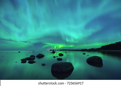 Aurora borealis northern lights over the Gulf of Finland
