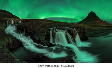 Aurora Borealis (Northern Lights) view over Kirkjufell, Iceland