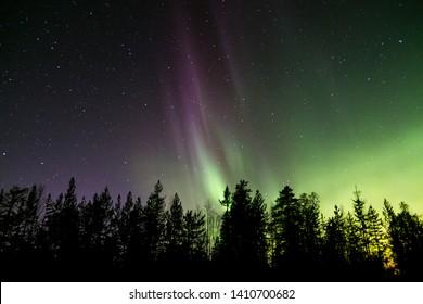 Aurora borealis in northern night sky