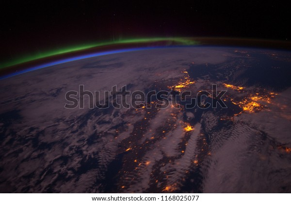 Aurora Borealis over Europe from the International Space Station. Elements of this image furnished by NASA