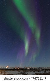 Aurora borealis over geothermal area in Myvatn