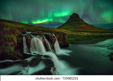 Aurora Borealis over Kirkjufell in Western Iceland