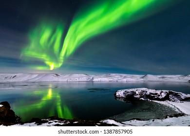 Aurora borealis over Kleifarvatn Lake on Reykjanes Peninsula, Iceland, March 2019