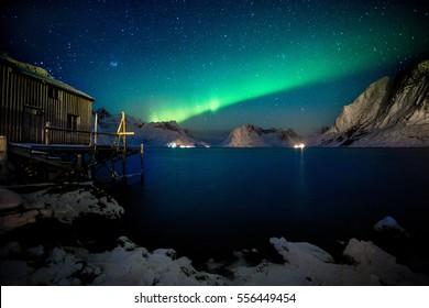 Aurora borealis over Lofoten Islands, Norway, Europe