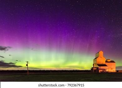 Aurora Borealis over Pennant Saskatchewan Grain Elevator