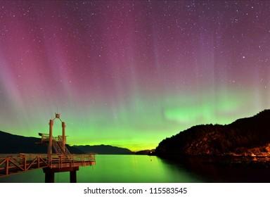 aurora borealis at Porteau Cove Provincial Park, Howe Sound, British Columbia
