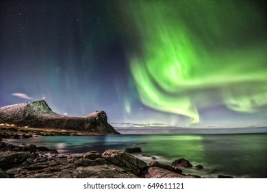 Aurora Borealis. Shot at Myrland in Flakstad island, Lofoten