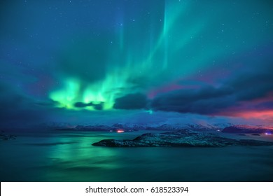 Aurora borealis in the starry night of Norway
