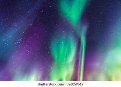 Aurora Borealis a starry sky in the north of Sweden