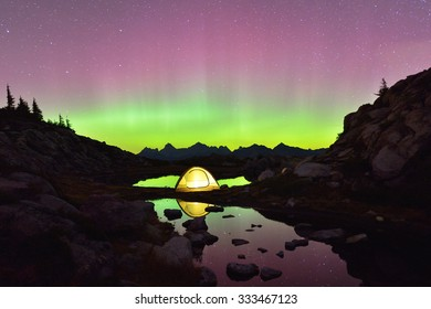 Aurora Borealis and tent on Artist Point, Mt. Baker-Snoqualmie National Forest
