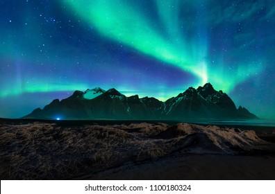 Aurora borealis,Nothern light at Vestrahorn mountain in Iceland.