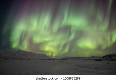 Aurora Borealis-The Northern Lights in Iceland. The amazing natural wonder of the world