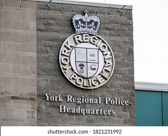 Aurora, Canada, September 15, 2020; The crest on the wall of the York Regional Police YRP headquarters building in Aurora
