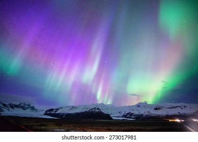 Aurora display in Skaftafell, iceland