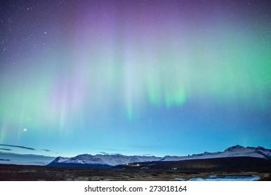 Aurora display in Skaftafell, iceland