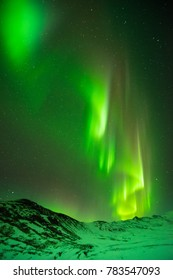 Aurora at Glacier Lagoon in Iceland.