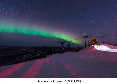 Aurora, incredible nature light in Fairbanks Alaska are seen around poles of the northern hemispheres
