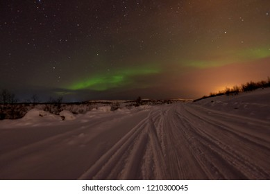 Aurora light in Murmansk, Northern Russia Mar 2018.