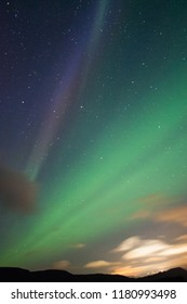 Aurora lights in the sky.