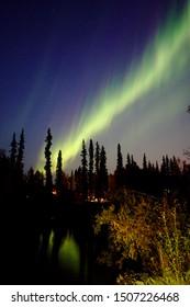 Aurora near Fairbanks Alaska right after the sunset