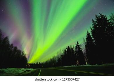 Aurora Northern Lights Night Sky Winter Fairbanks Alaska