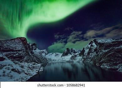 Aurora, Northern Lights at Reine, Lofoten Islands, Norway