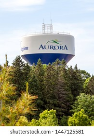 Aurora,  Ontario, Canada - June 10, 2018: City of Aurora Water Tower.  Aurora is a town and regional seat of the Regional Municipality of York in the Canadian province of Ontario.