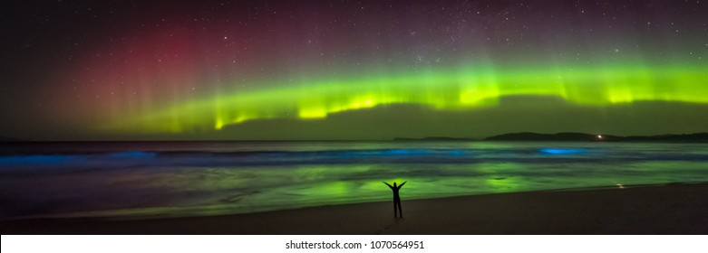 Aurora over one joyful figure silhouetted on beach